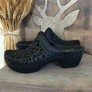 Dansko Pippa Lace Cut Out Black Clog Mules